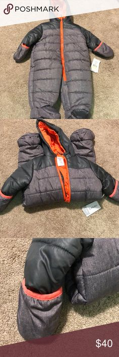 Baby snowsuit Grey and orange infant snow suit/ outerwear size 3-6 months. BRAND NEW NEVER WORN!!! Carter's Jackets & Coats