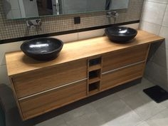 My wife and me wanted a custom bamboo piece of furniture for our main bathroom. As we could not find anything, we decided to build one. Bamboo Bathroom, Bathroom Spa, Small Bathroom, Master Bathroom, Bathroom Vanities, Ikea Hackers, Bathroom Furniture, Double Vanity, Custom Furniture