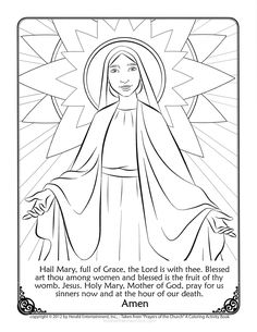 Mary Coloring Page With The Hail Prayer Printed Below Color And Pray