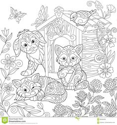 Coloring Page Of Puppy Cat Sparrow Bird Dog Booth Clover Flowers And Butterflies Freehand Drawing For Adult Antistress Colouring Book With Doodle