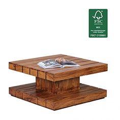 WOHNLING Beistelltisch Massiv-Holz Sheesham Wohnzimmer-Tisch ...