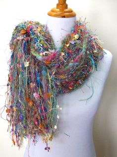 Brazil Hand Knit Scarf Imported Yarns Hand Spun Wool by Fanchi, $40.00