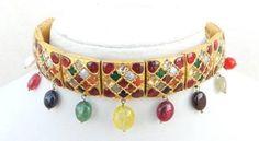 RARE Vintage Antique Handmade 20K Gold Navratan Choker Necklace Rajasthan India   eBay