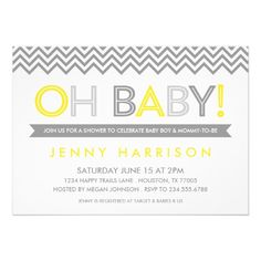 Bright and bold typographic baby shower invitation design with a mix of modern sans serif fonts on a white colored background with trendy zigzag chevron stripes border. | Created by rileyandzoe