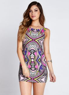 """Sleeveless mini dress featuring multicolored kaleidoscope print and exposed zipper at back.    70% Rayon, 25% Polyester, 5% Elastane  29"""" length  Model is wearing size XS"""