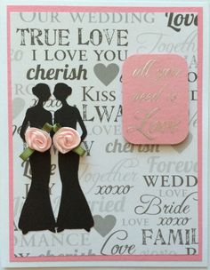 Lesbian wedding card two bride silhouette pink by CreativeCards17, $4.75