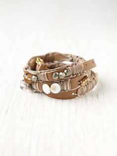 Free People Kay Court Leather and Bead Wrap Bracelet