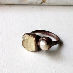Copper Ring Pearl Scapolite Pale Yellow Gem Stone Natural Raw Patina Artisan. $70.50, via Etsy.