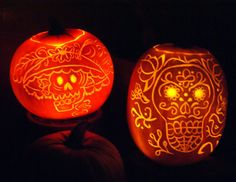 Last year's carvings for our Halloween and Day of the Dead parties