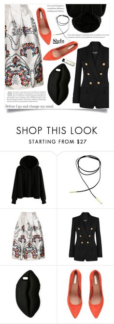 """Bez naslova #1663"" by violet-peach ❤ liked on Polyvore featuring Balmain, STELLA McCARTNEY, H&M and Bobbi Brown Cosmetics"