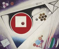 Rudolf Bauer (German, 1889-1953), Third Symphony in 3 Movements, Triptych (left section), 1930-34. Oil on canvas, 130.2 x 155.5 cm.