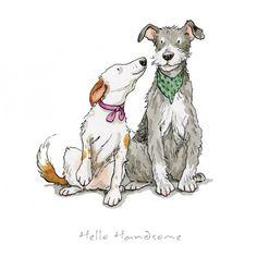 Hello Handsome Print by Anita Jeram - Hunde - Illustration Art Nouveau, Dog Illustration, Animal Illustrations, Cute Drawings, Animal Drawings, Drawing Sketches, Anita Jeram, Illustrator, Cartoon Dog