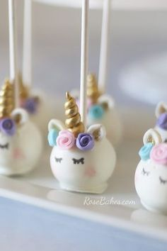 Pastel Watercolors Unicorn Cake and Unicorn Cake Pops - Click over to Rose Bakes to read all the details and see more pics :)