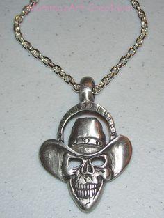 Cowboy Skull Necklace by mommazart on Etsy, $14.00
