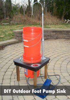DIY Outdoor Foot Pump Portable Sink...http://homestead-and-survival.com/diy-outdoor-foot-pump-portable-sink/