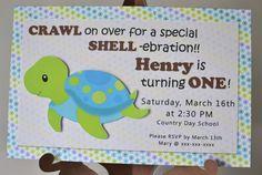 Boy Turtle Birthday, Turtle Baby Shower, Ocean Birthday, Under the Sea Birthday Party - Invitation