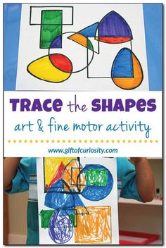 the shapes art project Trace the shapes art and fine motor activity Preschool Art, Preschool Activities, Shape Activities, Preschool Learning, Preschool Shapes, Therapy Activities, Kindergarten Art Lessons, Math Lessons, Montessori