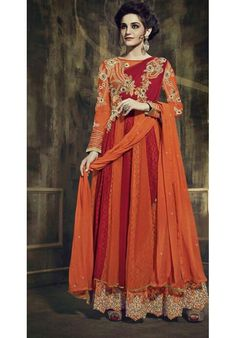 Orange and Red Embroidered Georgette Anarkali