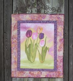 Hand Painted Tulips Wall Hanging Art Quilt Metal by paintedquilts, $298.00