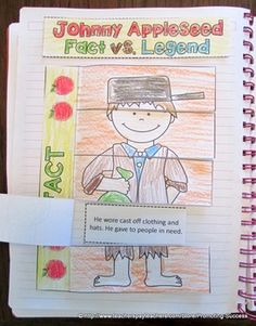 Johnny Appleseed Interactive Notebook Activity - In this activity, your students will examine the concept of fact versus legend by reading various sentences about Johnny Appleseed. The students will color, cut, and paste sentences under flaps while determining if each Johnny Appleseed sentence is a fact or legend. Students may use the sentences provided, or conduct their own Johnny Appleseed research to write their own sentences. An answer key is provided.