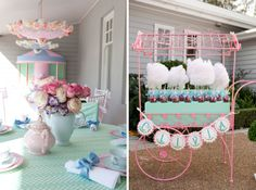dessert table from vintage wrought iron street cart
