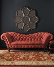 red leather tufted couch- love this for my beauty room! Tufted Couch, Style Boudoir, Red Velvet Sofa, Home Furniture, Furniture Design, Velvet Furniture, Sofa Design, Interior Design, Luxury Interior