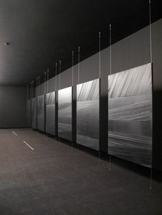 """Pierre Soulages: """"I like the authority of black. It's an uncompromising colour that encourages internalisation. Both a colour and a non-colour. When light is reflected on black, it transforms and transmutes it. It opens up a mental field all of its own"""". Exhibition Display, Exhibition Space, Museum Exhibition, Space Gallery, Art Gallery, Photography Exhibition, Expositions, Art Abstrait, Design Museum"""