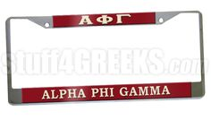 This Alpha Phi Gamma car tag frames any standard license plate with just two screws. Silver frame with cream lettering on a ruby red background. Comes with a removable protective film to keep your license plate frame scratch-free.