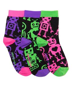 Loving this Pink & Purple Robots Ankle Socks - Kids on #zulily! #zulilyfinds