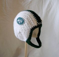 New York Jets Crochet Baby Football Helmet Hat With Embroidered Logo. I totally need this for my son!
