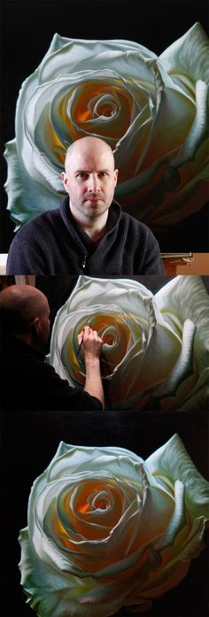 Oil painting of white rose by artist Vincent Keeling.