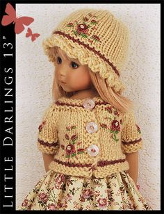 "OOAK Beige & Pink Outfit for Little Darlings Effner 13"" by Maggie & Kate Create"