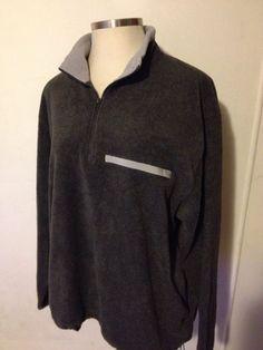 OLD NAVY Mens Fleece Pullover Gray 1/4 Zip Big Men XXL 2X Pockets Drawstring EUC #OldNavy #Fleece #Pullover