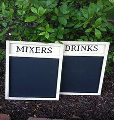 Chalkboard  - Shabby Wedding Decor - Wedding Sign Chalk Board - Drink Menu Chalkboard - NEW DESIGN