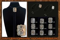Hand Engraved German Silver Bolo Ties With 14K Gold Trim- Review off of: http://www.indianvillagemall.com/boloties/germansilversquaredbolo.html