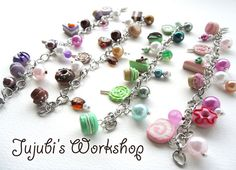Yummy Dessert Polymer Clay Charms Bracelet  by JujubisWorkshop, $20.00