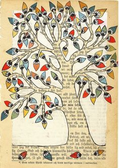 """Norwegian artist Annette Mangseth's wonderful paintings on print have a lovely wintery feel to them posted at """"the art room plant,"""" by Hazel Terry. Tree Of Life Art, Tree Art, Newspaper Art, Book Page Art, Altered Book Art, Poetry Art, Madhubani Art, Tree Illustration, Autumn Art"""