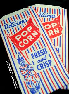 POPCORN BAGS--(100) Retro Vintage Popcorn Bags Favor: Circus Party, Carnival Party, Baseball Party, Movie Night, Slumber Party, Baby Showers. $13.75, via Etsy.