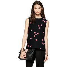 Kate Spade Petite Falling Florals Top ($138) ❤ liked on Polyvore featuring tops, floral top, black floral top, flower print top, petite tops and black floral print top