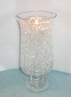 There are so many nice additives to either centerpiece or other decorations with deco-beads. They're gel-like beads that come tiny but expand in water. They are fairly cheap and if we buy tealights at the dollar store, we can change color to white  or blue light and it will looks stupendous! What do you think?