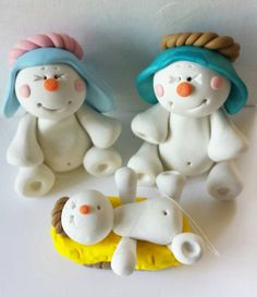 Nativity Snowman Ornament Manger Nativity by claycutiesbymelissa