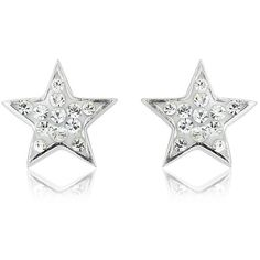 Argent of London Silver Crystal Star Earrings ($48) ❤ liked on Polyvore featuring jewelry, earrings, crystal stone jewelry, silver star earrings, silver jewellery, crystal jewelry and star jewelry