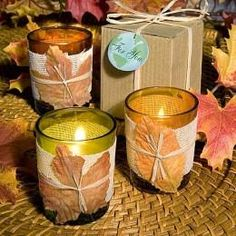 Easy DIY for fall weddings - using a clear votive candle holder create your fall wedding table centerpieces Candle Wedding Centerpieces, Candle Favors, Fall Wedding Decorations, Wedding Ideas, Wedding Stuff, Candle Holders, Wedding Planning, Autumn Decorations, Centerpiece Ideas
