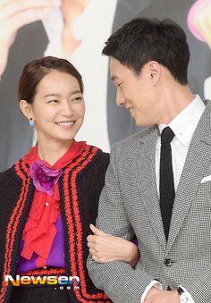 Shin Min Ah and So Ji Sub at the Oh My Venus press conference