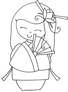 Kokeshi Doll Coloring Pages Embroidery Patterns, Hand Embroidery, Peyote Patterns, Coloring Books, Coloring Pages, Asian Quilts, Doll Drawing, Asian Cards, Cross Stitch Art