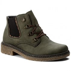 dc099621a6db Ladies lace up casual ankle boot in green with contrasting brown laces.  These boots have a warm lining and elasticated side panels to aid comfort.