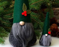 Holiday Nordic Gnome with Mini SET, Miniature Gnome, Nisse, Tomte, Scandinavian Gnome, Gifts for Her, Hostess Gifts by The Gnome Makers
