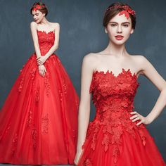 Shop elegant silk cheongsam, traditional Chinese red bridal dresses, sexy modernize Qipao from www.ModernQipao.com. Save 6% by share our products. Floral lace strapless A-line ball gown Chinese red trailing wedding dress