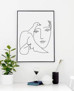 Picasso Peace Print  - Wall Decor - Home Decor - Girl - Dove Print - Picasso- Picasso Sketch - Pablo Picasso - Dove of Peace - Custom Size by ANamDesign on Etsy https://www.etsy.com/listing/484995489/picasso-peace-print-wall-decor-home