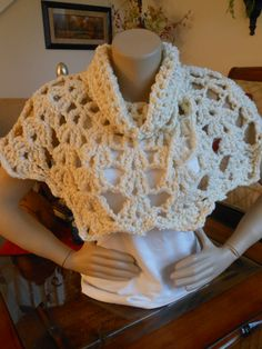 Hand crocheted pullover capelet shawl  is cozy in a chunky acrylic yarn..Cowl neckline